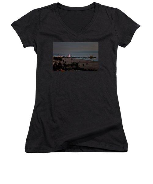 The Pier After Dark Women's V-Neck T-Shirt