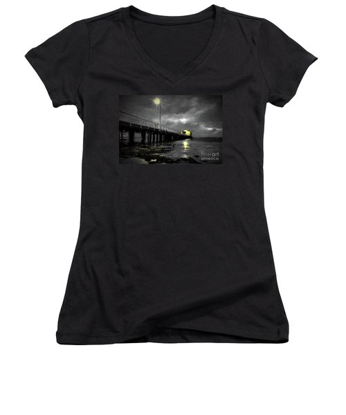 The Pier On The Bay Women's V-Neck (Athletic Fit)
