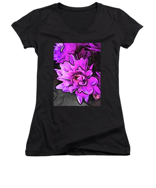 The Pink And Lavender Flowers On The Grey Surface Women's V-Neck (Athletic Fit)