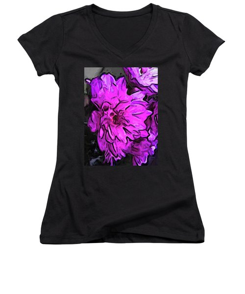The Pink Flower With The Lavender Edges Women's V-Neck (Athletic Fit)