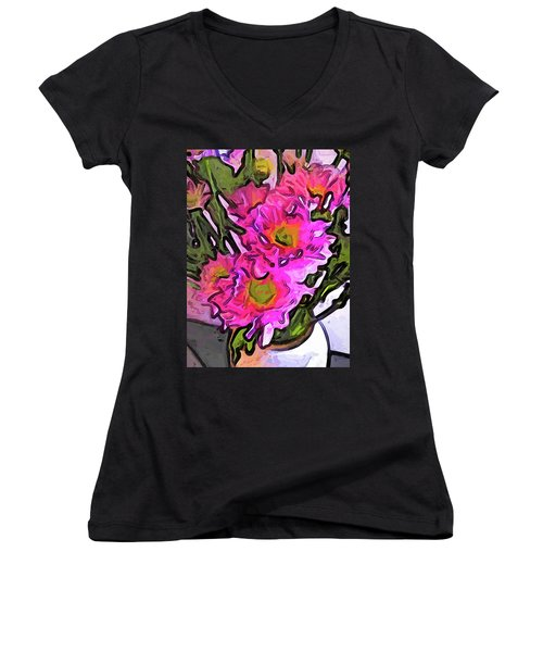 The Pink Flowers In The White Vase Women's V-Neck (Athletic Fit)