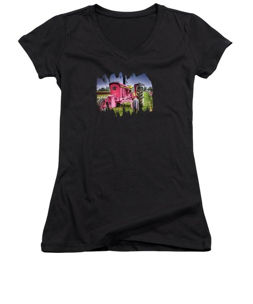 The Pink Tractor At The Wooden Shoe Tulip Farm Women's V-Neck T-Shirt (Junior Cut) by Thom Zehrfeld