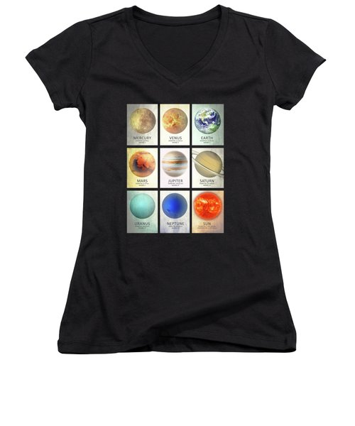 The Planets Women's V-Neck T-Shirt (Junior Cut) by Mark Rogan