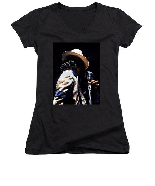 The Pop King Women's V-Neck T-Shirt (Junior Cut) by Emerico Imre Toth