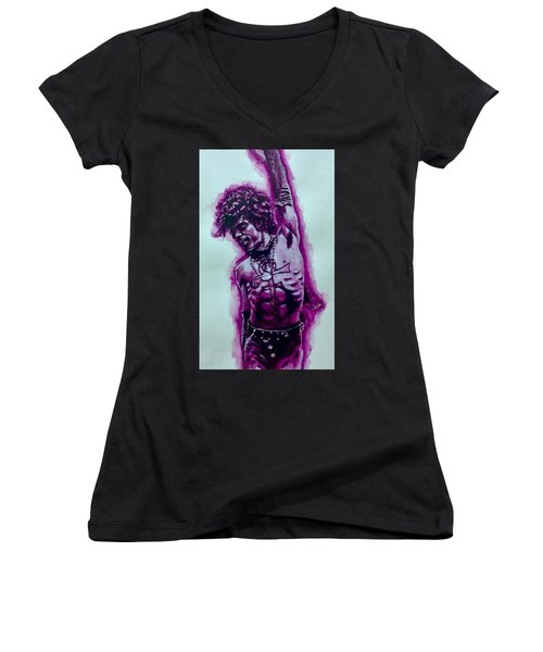 Women's V-Neck T-Shirt (Junior Cut) featuring the painting The Purple Prince   by Darryl Matthews