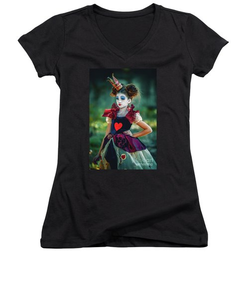 The Queen Of Hearts Alice In Wonderland Women's V-Neck