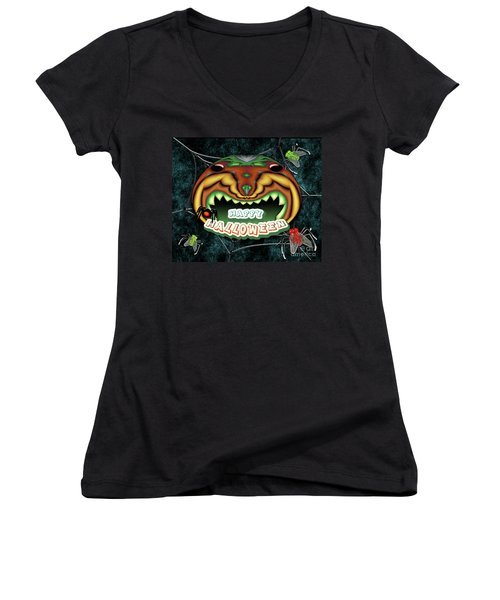 The Really Scared Pumpkin Melon Women's V-Neck T-Shirt