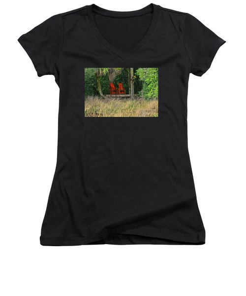Women's V-Neck T-Shirt (Junior Cut) featuring the photograph The Red Chairs by Deborah Benoit