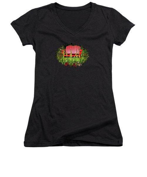 The Red Garden Bench Women's V-Neck T-Shirt (Junior Cut)