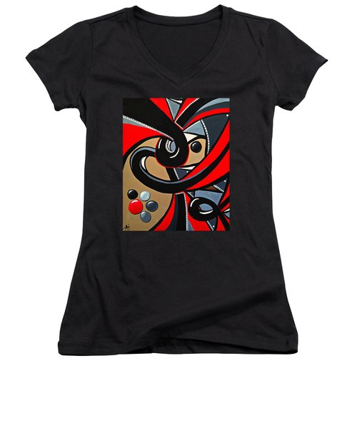 Red And Black Abstract Art Painting Women's V-Neck