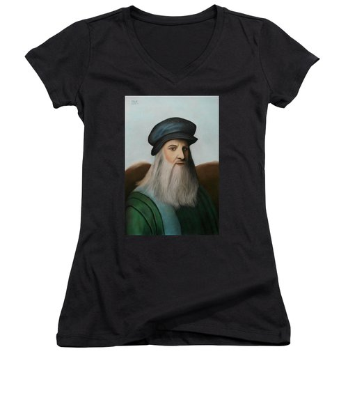 The Master Of Renaissance - Leonardo Da Vinci  Women's V-Neck T-Shirt