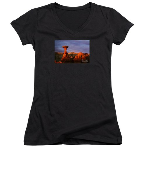 Women's V-Neck T-Shirt (Junior Cut) featuring the photograph The Rim Rocks by Keith Kapple