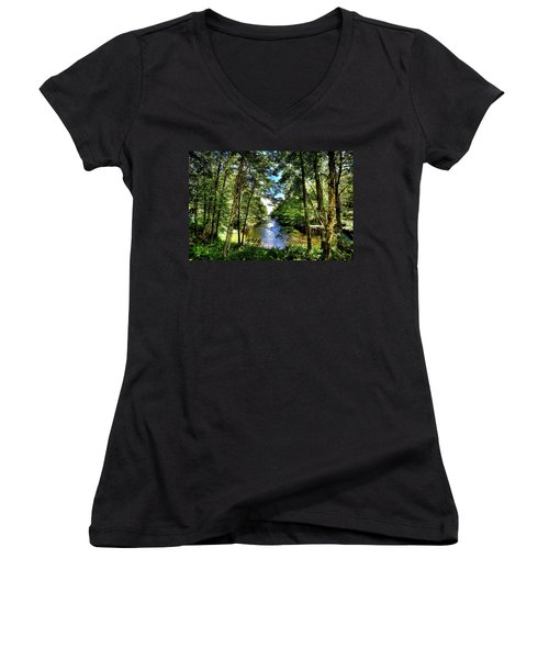 Women's V-Neck T-Shirt featuring the photograph The River At Covewood by David Patterson
