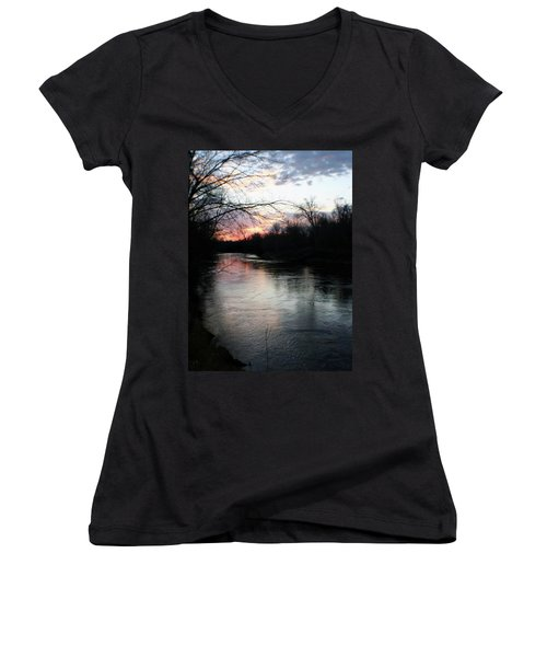The River At Sunset Women's V-Neck (Athletic Fit)