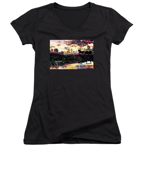 Women's V-Neck T-Shirt (Junior Cut) featuring the painting The Road To Home by Shana Rowe Jackson
