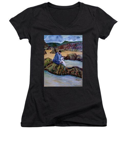 The Rock Pool - Painting Women's V-Neck T-Shirt