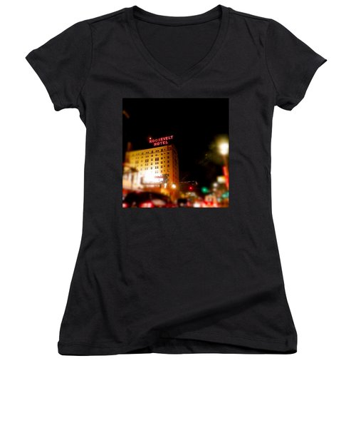 The Roosevelt Hotel By David Pucciarelli  Women's V-Neck T-Shirt (Junior Cut) by Iconic Images Art Gallery David Pucciarelli