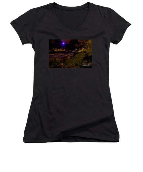 Women's V-Neck T-Shirt (Junior Cut) featuring the photograph The Rushing Rio Tomebamba IIi by Al Bourassa