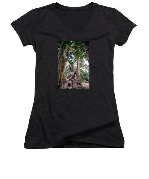 Women's V-Neck T-Shirt (Junior Cut) featuring the photograph The S Gate by Arik S Mintorogo