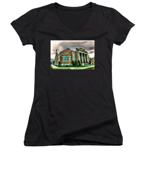 Women's V-Neck T-Shirt (Junior Cut) featuring the photograph The Seasons Performance Hall  by Jeff Swan