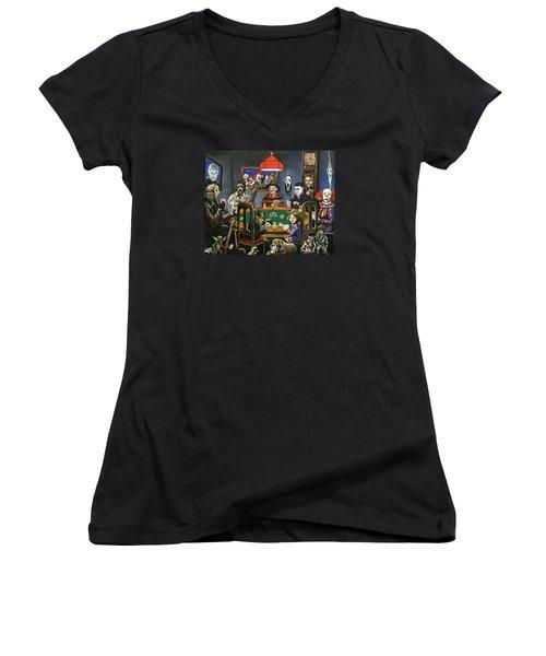 The Second Horror Game Women's V-Neck T-Shirt (Junior Cut) by Tom Carlton