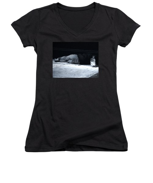 Women's V-Neck T-Shirt (Junior Cut) featuring the photograph The Sidewalks Of New York by RC deWinter