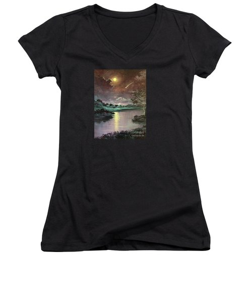 The Silence Of A Falling Star Women's V-Neck T-Shirt (Junior Cut) by Randy Burns