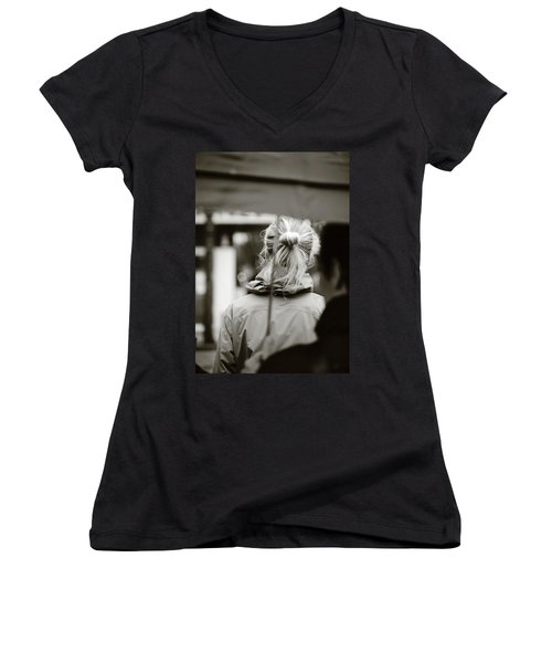 Women's V-Neck T-Shirt (Junior Cut) featuring the photograph The Smell Of Your Hair by Empty Wall