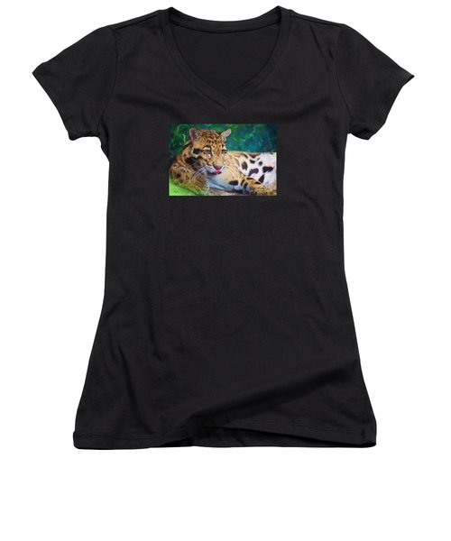 Women's V-Neck T-Shirt (Junior Cut) featuring the painting The Clouded Leopard by Judy Kay