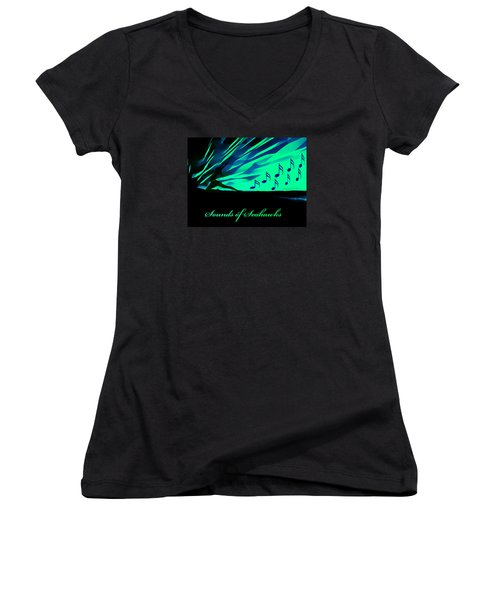 The Sounds Of Seattle Seahawks Women's V-Neck T-Shirt (Junior Cut) by Eddie Eastwood