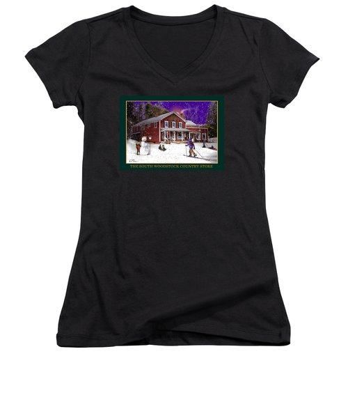 The South Woodstock Country Store Women's V-Neck T-Shirt (Junior Cut) by Nancy Griswold
