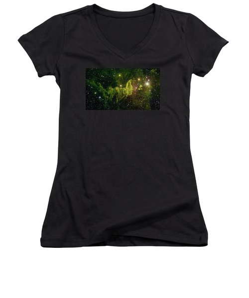 Women's V-Neck T-Shirt (Junior Cut) featuring the photograph The Spider And The Fly Nebula by NASA JPL - Caltech