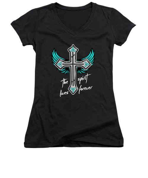 The Spirit Lives Forever II Women's V-Neck T-Shirt (Junior Cut) by Melanie Viola