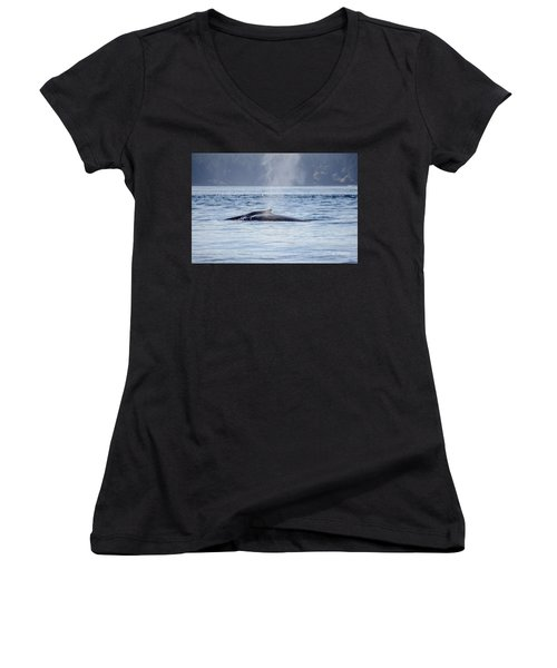 Women's V-Neck featuring the photograph The Spirit Revealed Mother And Child Humpback Whales by Roxy Hurtubise