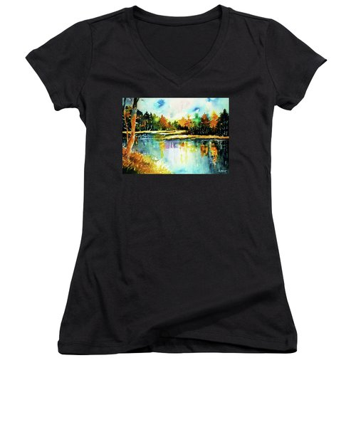 The Splendor And  Color Of Autumn Women's V-Neck T-Shirt