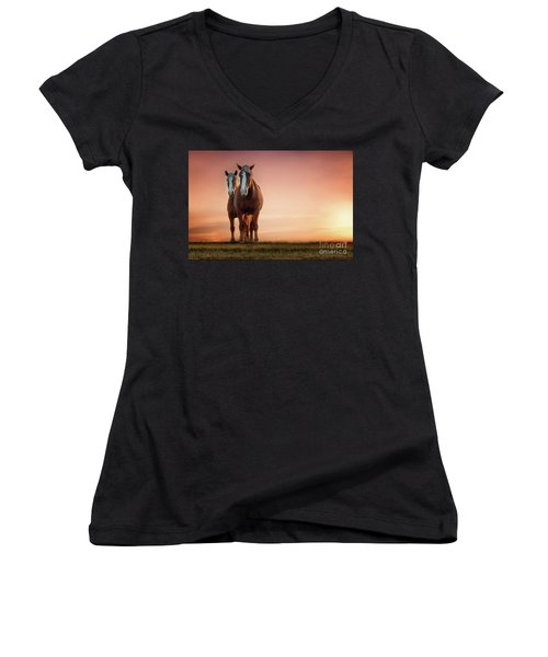 The Stallion And The Mare II Women's V-Neck T-Shirt (Junior Cut) by Tamyra Ayles