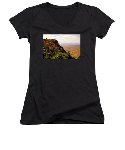 Women's V-Neck T-Shirt (Junior Cut) featuring the photograph The Summit In Fall by Meta Gatschenberger