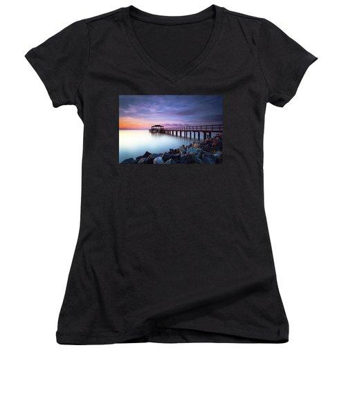 The Sun Watcher Women's V-Neck T-Shirt (Junior Cut) by Edward Kreis