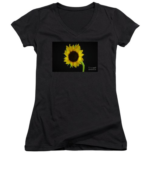 The Sunflower Women's V-Neck T-Shirt (Junior Cut) by Ray Shrewsberry
