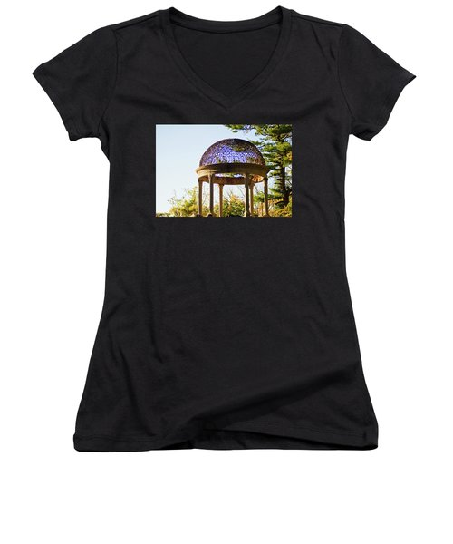 The Sunny Dome  Women's V-Neck T-Shirt (Junior Cut) by Jose Rojas