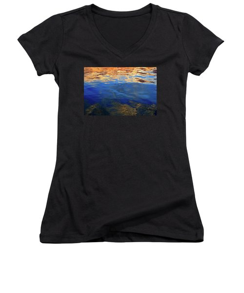 The Surface Is A Reflection  Women's V-Neck T-Shirt (Junior Cut) by Lyle Crump