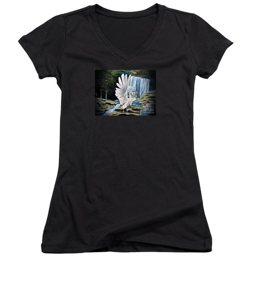 Women's V-Neck T-Shirt (Junior Cut) featuring the painting The Swan by Dianna Lewis