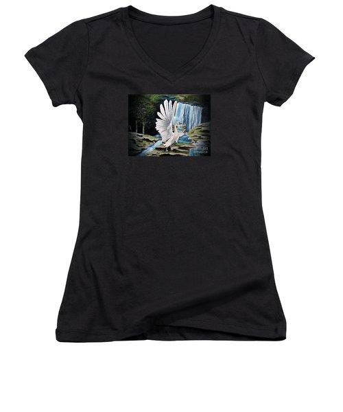 The Swan Women's V-Neck T-Shirt (Junior Cut) by Dianna Lewis