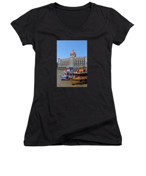 The Taj Palace Hotel And Boats, Mumbai Women's V-Neck T-Shirt (Junior Cut) by Jennifer Mazzucco