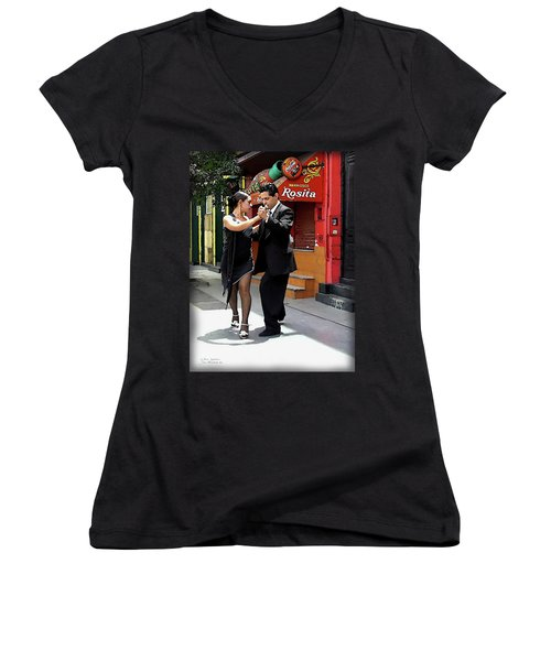 The Tango Women's V-Neck T-Shirt (Junior Cut) by Joan  Minchak