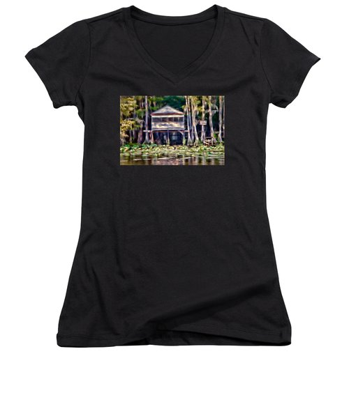 The Tea Room Women's V-Neck T-Shirt (Junior Cut) by Lana Trussell