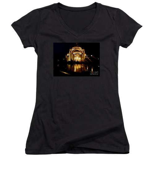 Women's V-Neck T-Shirt (Junior Cut) featuring the photograph The Temple Of Saint Sava In Belgrade  by Danica Radman