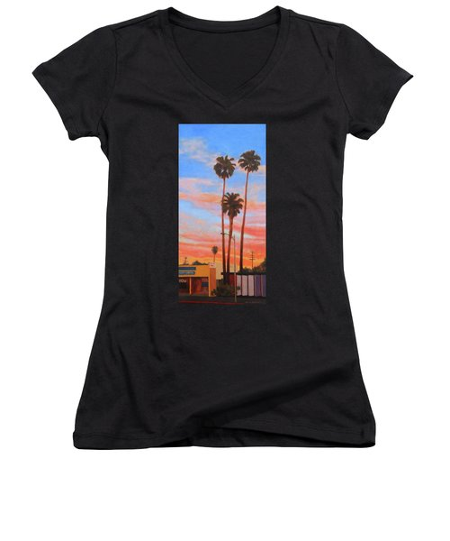 The Three Palms Women's V-Neck T-Shirt (Junior Cut) by Andrew Danielsen