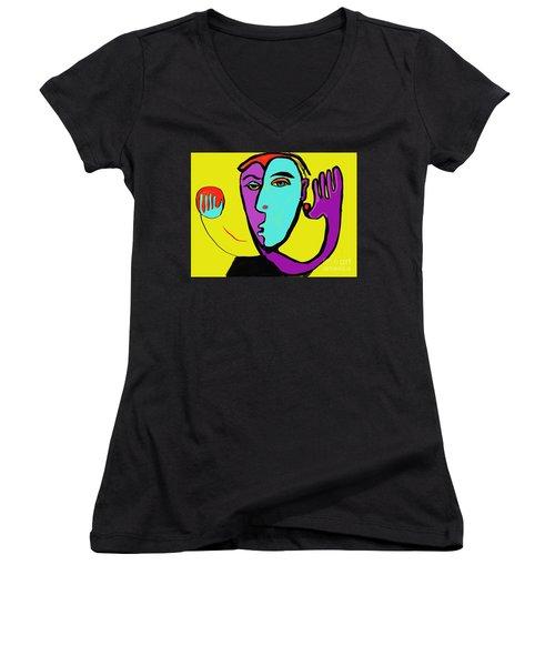 The Toss Women's V-Neck T-Shirt (Junior Cut) by Hans Magden