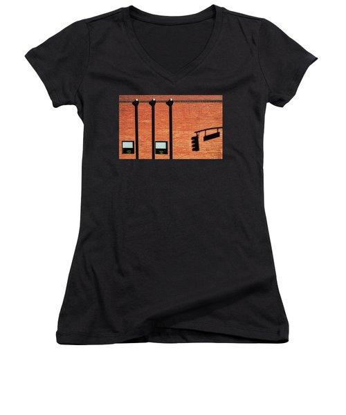 The Traffic Light Intruder Women's V-Neck T-Shirt (Junior Cut) by Gary Slawsky